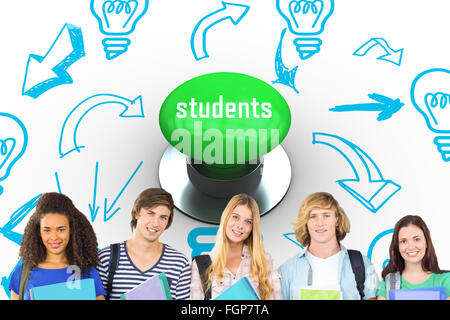Students against digitally generated green push button - Stock Photo