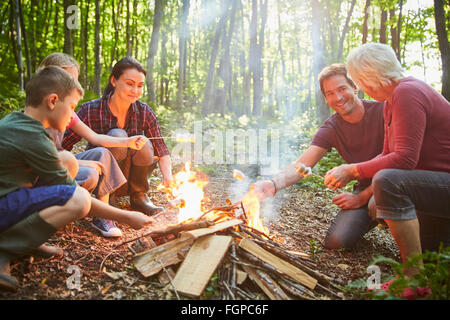Multi-Generation Family Enjoying Camping Trip Stock Photo ...