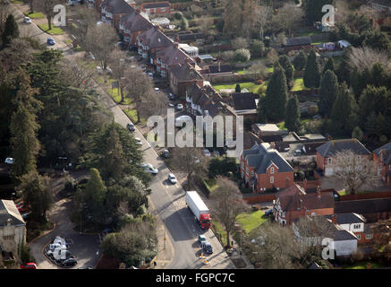 aerial view of a typical domestic suburban middle class English street in Banbury, Oxfordshire, UK - Stock Photo