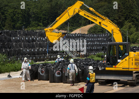 Radioactive decontamination process of the forests and fields, in Iitate district, near Fukushima, Japan, 2015. - Stock Photo