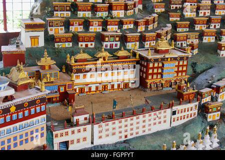 Miniature of the monastery in Tibet, at Buddhist Golden Temple, Bylakuppe, Coorg, Karnataka, India - Stock Photo