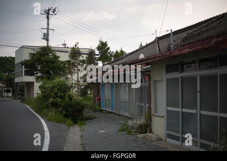 Abandoned village of Kusano, in Iitate district, Japan, 15 July 2015. Decontamination work of the radiation spread - Stock Photo