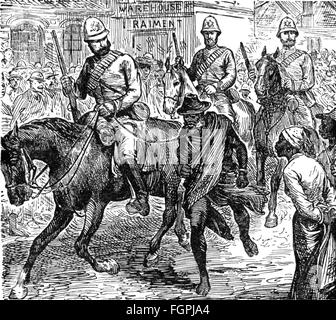 colonialism, Africa, British soldiers leading the chief of an insurgent South African tribe through the streets, - Stock Photo