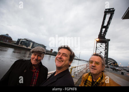 Bay City Rollers (left to right: Alan Longmuir, Les McKeown, Stuart 'Woody' Wood), in Glasgow, Scotland, on 7 December - Stock Photo