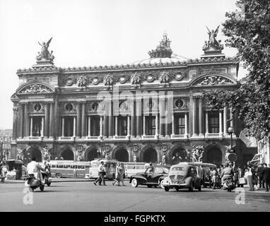 geography / travel, France, Paris, buildings, opera, Palais Garnier, place de l  Opéra, exterior view, 1950s, Additional - Stock Photo