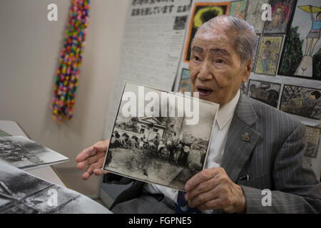 Sunao Tsuboi, atomic bomb survivor and co-Chairperson of the Japan Confederation of A- and H- bomb Sufferers Organisation, - Stock Photo