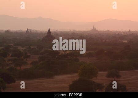 old Buddhist temples and pagodas in Bagan, Myanmar - Stock Photo