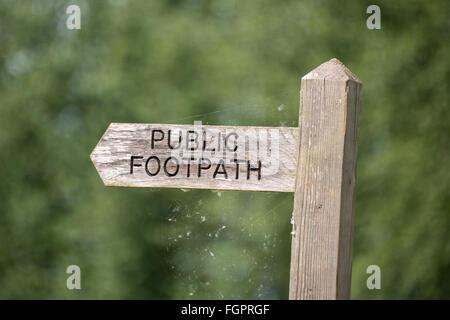 Public footpath sign, near Bungay in Suffolk - Stock Photo