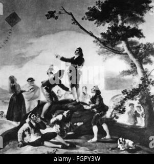 leisure, kiteflying, group letting kite fly, after painting 'La Cometa', by Francisco de Goya y Lucientes (1746 - Stock Photo