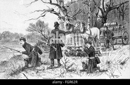 justice, crime, smuggling, spirit smugglers at the Prussian-Russian border surprised by customs officials, after - Stock Photo