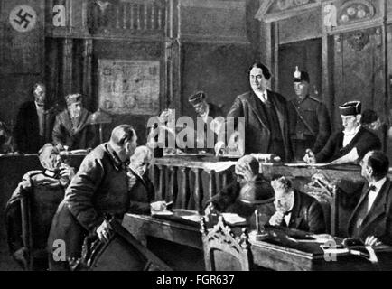 justice, lawsuits, Reichstag Fire Trial, 'Dimitrov accusing', after painting by Vladimir Bulankin (1921 - 1974), - Stock Photo