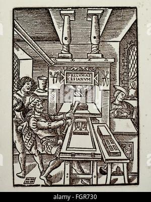 technics, letterpress / media, publisher's mark, Jodocus Badius Ascentius (1462 - 1535), woodcut, 10,8 x 17,6 centimeter, - Stock Photo