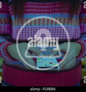 Fount in her smartphone