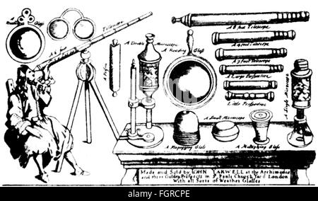 advertising, optics, announcement of the sale of optical instruments, John Yarwell, St. Paul's Yart, London, 1672, - Stock Photo