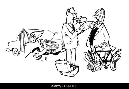 medicine, caricature, 'Lucky me, doctor, that I crashed into your car!', drawing by Theo Immisch (1925 - 2004), - Stock Photo