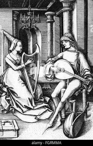 music, musician, salon music, copper engraving by Israhel van Meckenem the Younger, Bocholt, Westphalia, circa 1490, - Stock Photo