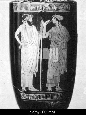 fashion, ancient world, Greece, men's and women's clothing, vase painting, Museum of Art History, Vienna, fine arts, - Stock Photo