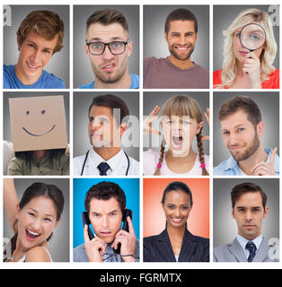 Composite image of composite image of young businessman looking at camera - Stock Photo