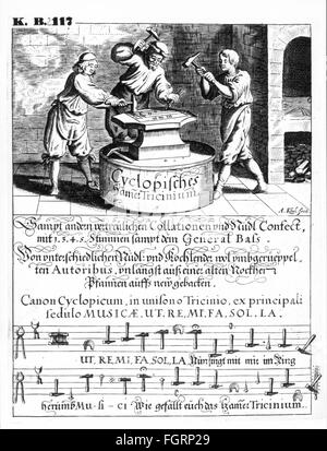 music, notes, page from a choirbook with officies by Ludwig Senfl and Heinrich Isaac, 1591, Additional-Rights-Clearences - Stock Photo