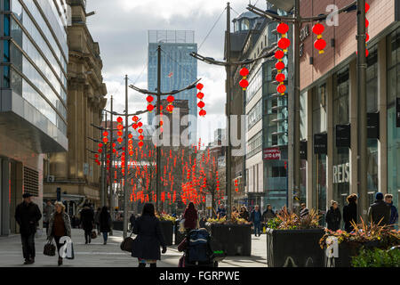 Chinese lanterns in St. Anne's Square Manchester, England, UK.  For Chinese New Year celebrations.  Beetham Tower - Stock Photo