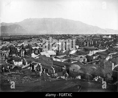 geography / travel, Italy, Pompeii, ruins, view, late 19th century, Roman city, ancient world, ancient times, excavation, - Stock Photo