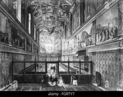 geography / travel, Italy, Rome, Vatican, churches, St. Peter's Basilica, interior view, engraving, 19th century, - Stock Photo
