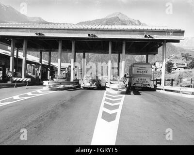 geography / travel, Italy, transport / transportation, toll station at Great St. Bernard Pass in the Aosta Valley, - Stock Photo