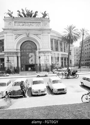 geography / travel, Italy, Palermo, buildings, Teatro Politeama Garibaldi, exterior view, 1950s, Additional-Rights - Stock Photo