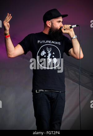 Scroobius Pip vs Dan le Sac, Village Green Music and Arts Festival, Southend-on-Sea, Essex © Clarissa Debenham / - Stock Photo