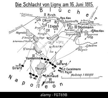 War of the Seventh Coalition 1815, Battle of Ligny, 16.6.1815, plan of action, drawing, 1913, Additional-Rights - Stock Photo