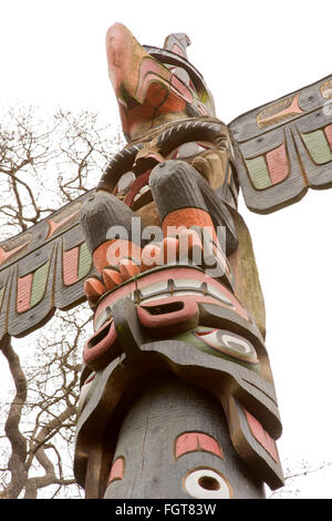 Section view of other totem pole,Thunder bird park - Stock Photo
