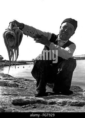 geography / travel, Greece, people, old man with octopus, Crete, 1950s, Additional-Rights-Clearences-NA - Stock Photo