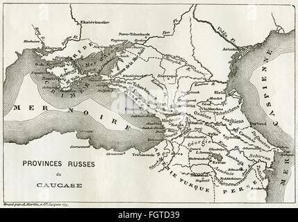 cartography, map of the region between the Black Sea and the Caspian Sea : Ukraine, Crimea, Russia, Georgia, Armenia, - Stock Photo