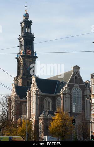 Westerkerk is a Reformed church within Dutch Protestant church. Reverse side / back / east side. Amsterdam, the - Stock Photo