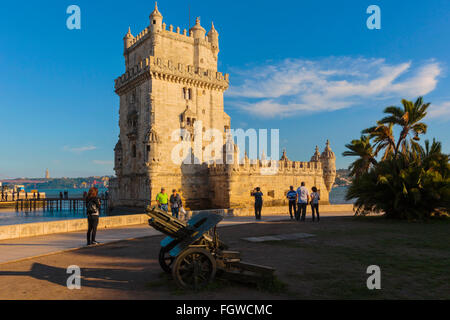 Lisbon, Portugal.  The 16th century Torre de Belem.  The tower is an important example of Manueline architecture - Stock Photo