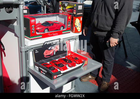 Los Angeles, California, USA. 21st February, 2016. A display of toy Ferrari cars at the Petersen Automotive Museum's - Stock Photo