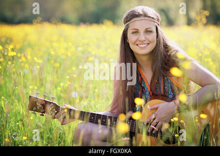 Happy hippie woman smiling. Freedom and harmony - Stock Photo