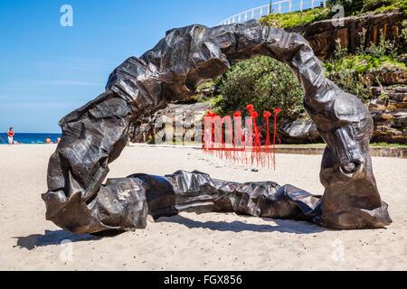 Australia, New South Wales, Sydney, Tamarama Beach, Sculpture by the Sea 2014, annual open air art exhibition. - Stock Photo