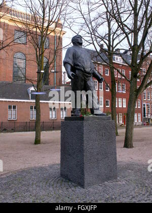 Statue of the Dokwerker ('Dock labourer') at  Jonas Daniël Meijerplein in Amsterdam, commemorating the February - Stock Photo