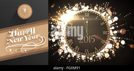 Composite image of clock counting down to midnight - Stock Photo