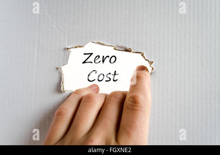 Business man hand writing zero cost - Stock Photo