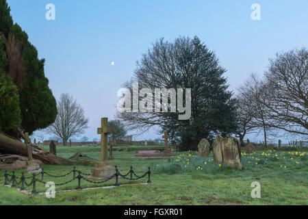 Wootton Churchyard in the Surrey Hills. - Stock Photo