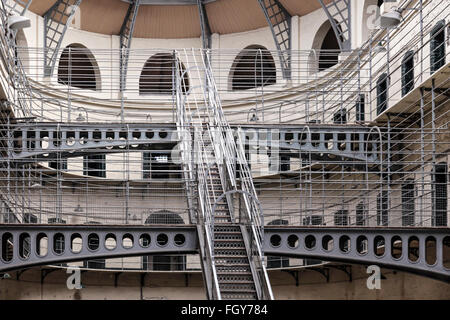 Kilmainham Gaol, Dublin, notorious Irish prison. This is the later Victorian East Wing, which housed men. Movie - Stock Photo