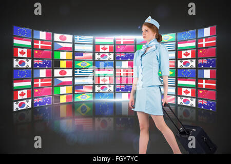 Composite image of pretty air hostess pulling suitcase - Stock Photo