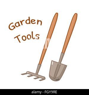 Isolated icon of gardening tools - rake and shovel - Stock Photo