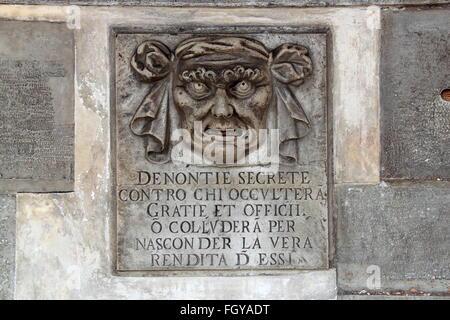 Bocca di Leone (Lion's Mouth), Palazzo Ducale (Doge's Palace), Piazza San Marco, Venice, Veneto, Italy, Adriatic - Stock Photo