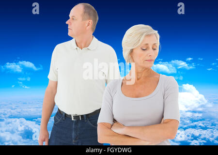 Composite image of older couple having an argument - Stock Photo
