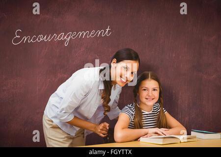 Encouragement against desk - Stock Photo