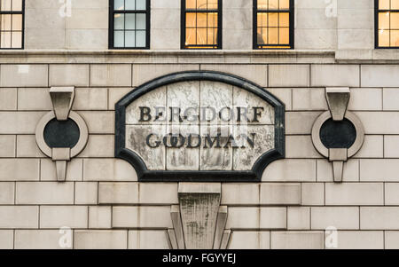 Close up of the plaque / sign at the historic art deco Bergdorf Goodman department store on Fifth Avenue in NYC - Stock Photo