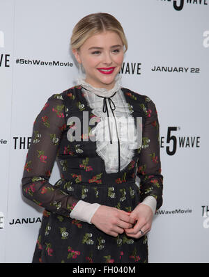 5th Wave Photocall at Soho Hotel in London.  Featuring: Chloe Grace Moretz Where: London, United Kingdom When: 21 - Stock Photo